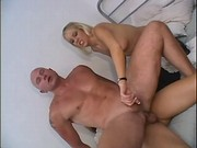Bald dude assfucked by blond tranny
