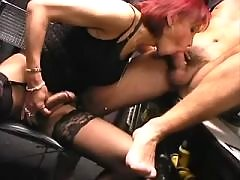 Hot tranny and boss play with cocks