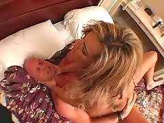 Shemale rides cock and gets cumload. Blonde Tranny Porn