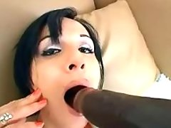 Sexy ts plays with big black dildo