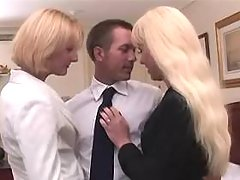 Two blond shemales n guy suck cocks
